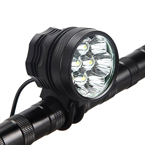 HZTech Bicycle Headlight, 8400 Lumens 7 LED Bike Light, Waterproof MTB Road Bike Front Light Headlamp with 9000mAh Rechargeable Battery Pack, AC Charger for Mountain Bikes, Road (Bike Headlamp)