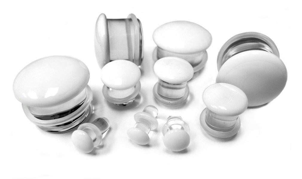 1 Pair of 00 Gauge (00G - 10mm) White Glass Plugs - Single Flare