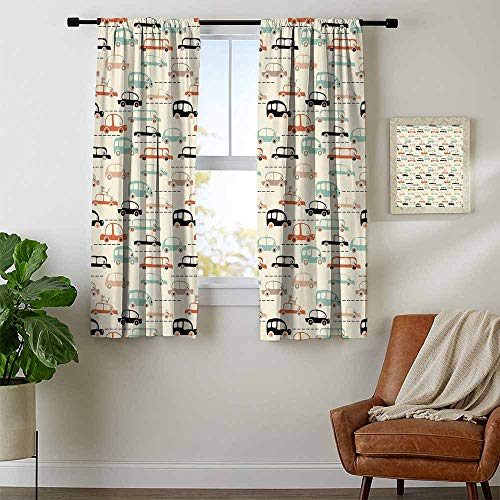 Mozenou Cars, Kitchen Curtains Valances, Childish Drawing of Automobiles with a Cat in Traffic Speeding on a Old City Highway, Curtains Kitchen, W54 x L39 Inch Multicolor