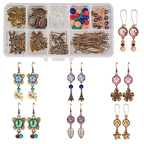SUNNYCLUE 1 Box DIY 10 Pairs 12mm Glass Dome Cabochon Earrings Making Starter Kits Photo Jewelry Supplies Crafts Earring Wire Hooks, Cabochon Settings, Charm Beads, Antique Bronze