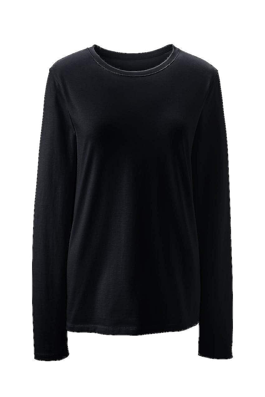7a958fadbf Amazon.com: Lands' End Women's Petite Supima Cotton Long Sleeve T-Shirt -  Relaxed Crewneck: Clothing
