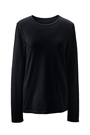 906ad5234b Lands' End Women's Petite Supima Cotton Long Sleeve T-Shirt - Relaxed  Crewneck,
