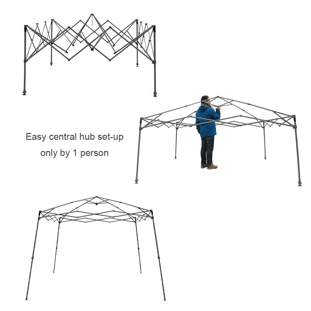 White CROWN SHADES Patented 3.3m x 3.3m Base and 2.7m x 2.7m Top Slant Leg Outdoor Pop up Portable Shade Instant Folding Gazebo with Carry Bag