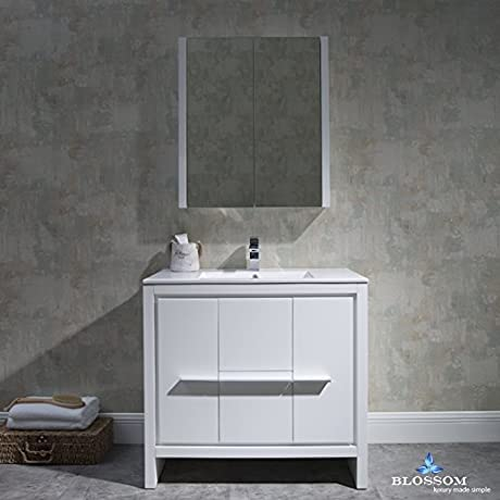 BLOSSOM 014 36 01 MC Milan 36 Vanity Set With Medicine Cabinet Glossy White