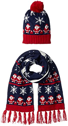 It's Our Time Women's Ugly Christmas Santa Gift Set With Beanie and Scarf, Navy, One Size (Ugly Christmas Scarf)