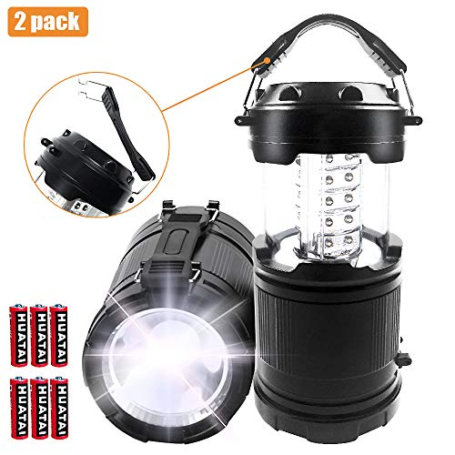 LED Camping Lantern, Portable Flashlight Tent Light, Collapsible Two-In-One Emergency Light with 6 AA Batteries for Emergency, Hurricane, Power Outage