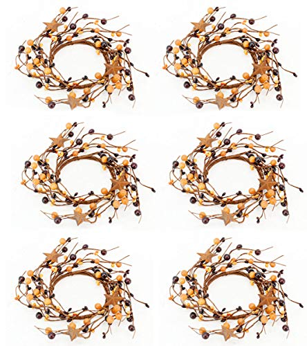 (OBI Berry Metal Star Candle Ring Mini Wreath Set of 6 - Country Primitive Small Floral Decor - Mustard)
