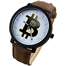 Bitcoin Watch - Mens Wrist Watch - Classic Brown Leather | Bitcoin Gift | Bitcoin and Ethereum Coin - Crypto to the Moon