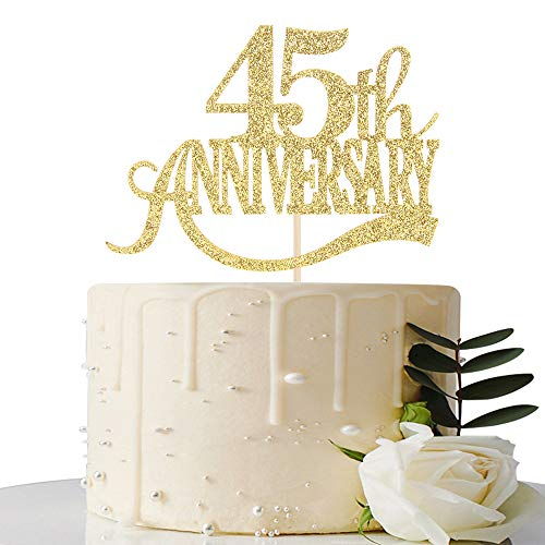 Gold Glitter 45th Anniversary Cake Topper - for 45th Wedding Anniversary / 45th Anniversary Party / 45th Birthday Party Decorations