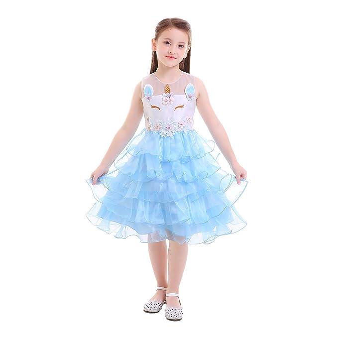Girls Unicorn Dress Tiered Ruffle Cake Skirt Kids Birthday Tutu Outfit Flower Sleeveless Pageant Wedding Princess