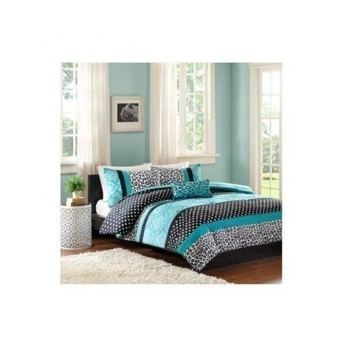 Comforter Bed Set Teen Bedding Modern Teal Black Animal Print Girls Bedspead Update Home (full/queen) by M zone by M zone ()