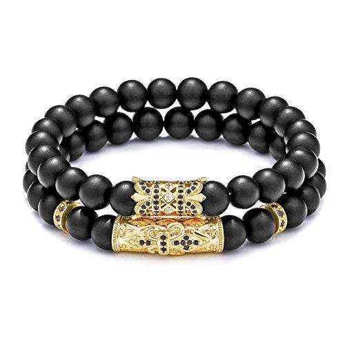 Black Charms Beaded (Meangel 8mm Natural Stone Beads Bracelet for Men Women Black Matte Onyx Stone Beads Adjustable)