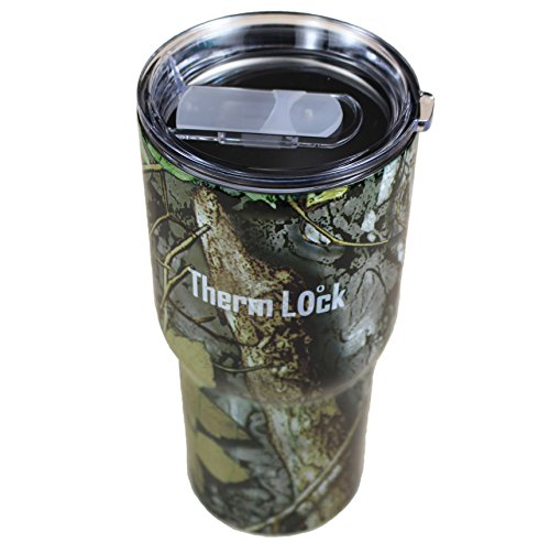 Therm Lock 30-Ounce Stainless Steel Double Wall Vacuum Insulation Tumbler with Lid, Camo