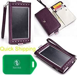 Samsung ATIV S Neo Universal Ladies wristlet wallet in W/ [GLAZED] FRONT VIEW IN PURPLE plus bonus Neviss luggage tag