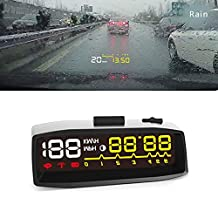 XCSOURCE 4F Car HUD OBDII Windshield Projector Head Up Display KM\H MPH Overspeed Warning Engine Coolant Alarm Fuel Time MA1147