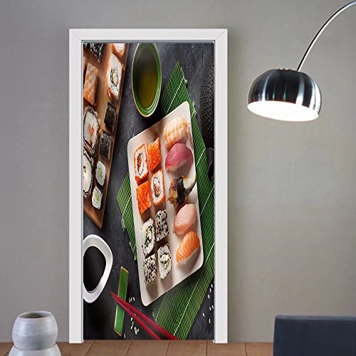 Niasjnfu Chen custom made 3d door stickers Set of Sushi and Maki Roll and Green Tea on Stone Table. Top View Fabric Home Decor For Room Decor 30x79 by Niasjnfu Chen