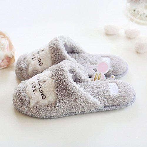 Comfortabele Fleece-memoryschuimpantoffels Voor Dames Met Antislipzool Grijs