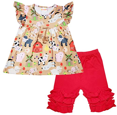 Boutique Toddler Girls Spring Summer Farm Animals Cow Top Capri Outfit Beige Red 5/L