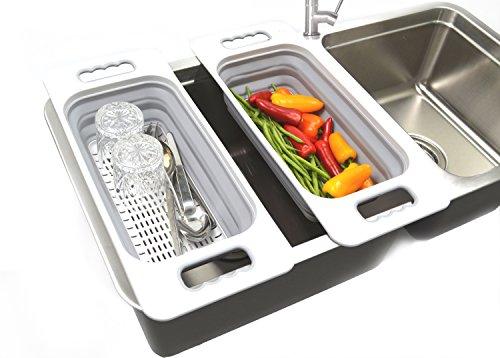 SAMMART Over The Sink Rectangular Colander (Grey)