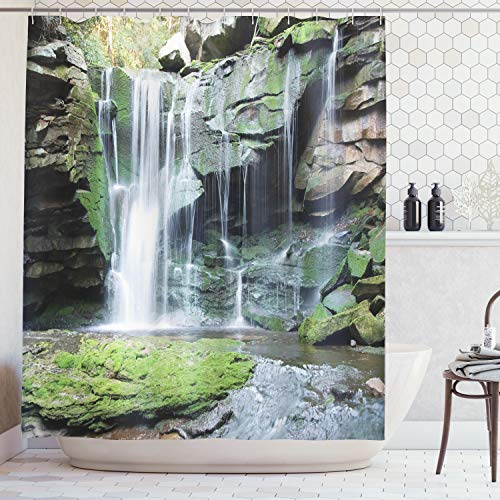 Ambesonne Waterfall Decor Collection, Rocky Waterfall Pond Runoff Scenic Nature Picture, Polyester Fabric Bathroom Shower Curtain Set with Hooks, 75 Inches Long, Green Olive White