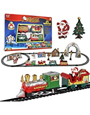 Christmas Electric Train Set Toy Battery-Powered Train Toys Deluxe Santa's Express Delivery Christmas Train Set Kids Electric Train with Santa Claus Electric Tracks Train Playset Toys Gift for Kids