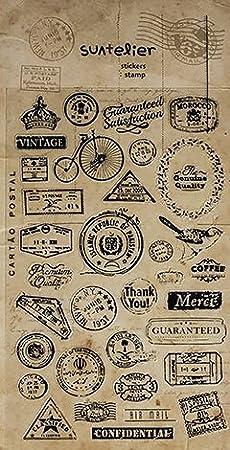 Logbuch-Verlag - 34 pegatinas pequeñas con motivos vintage, autoadhesivas, estilo nostálgico, scrapbooking, decoración