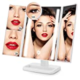 Cheap ACOCO Lighted Makeup Vanity Mirror with 10X/3X/2X/1X Magnifying Soft Natural LED Lighting System for Cosmetic Shaving, Touch Screen, Dual Power Supply, 180°Rotation Trifold Mirror (White)