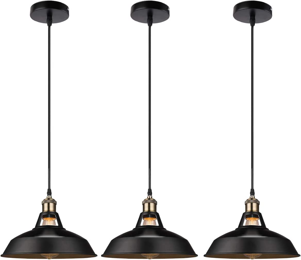 GALYGG Retro Industrial Pendant Lighting Black Ceiling Light Fixtures – Metal Shade Hanging Pendant Lights 10.63 in Diameter – for Kitchen Island – 3 Pack
