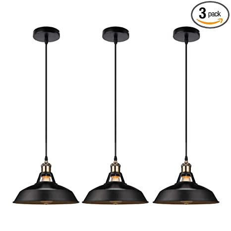 cheaper e7dee 48516 GALYGG Retro Industrial Pendant Lighting Black Ceiling Light Fixtures -  Metal Shade Hanging Pendant Lights 10.63 in Diameter - for Kitchen Island -  3 ...
