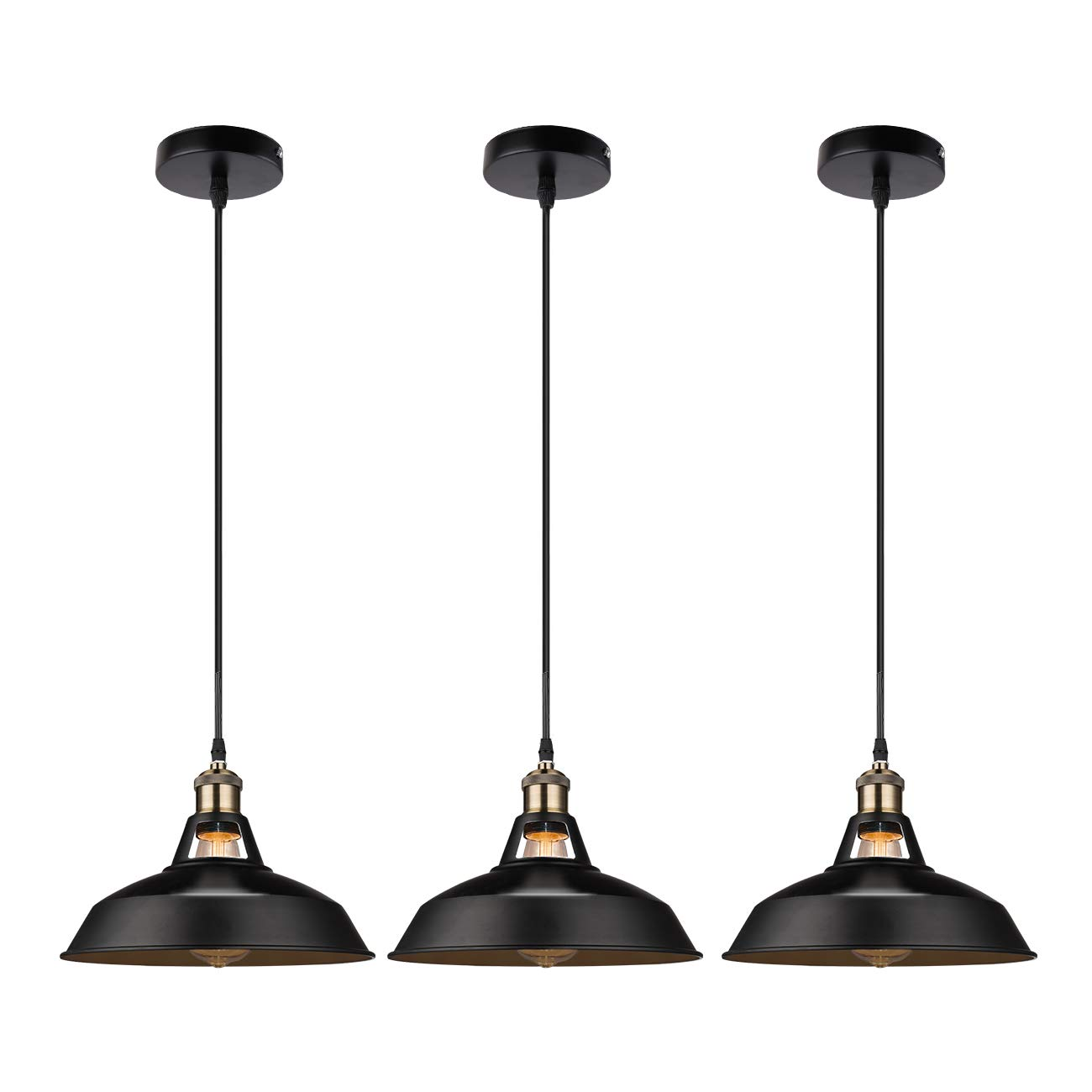 GALYGG Retro Industrial Pendant Lighting Black Ceiling Light Fixtures, Metal Shade Hanging Pendant Lights 10.63 in Diameter, for Kitchen Island (Included 4W E26 Edison Bulb) - 3 Pack