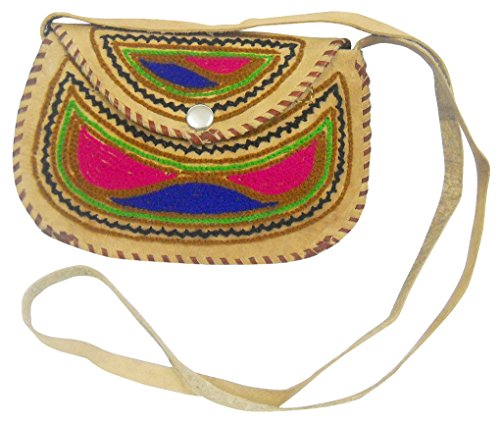 Attractive Handmade Multi Color Embroidered Camel Leather Sling shoulder Bag