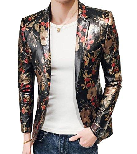 (OUYE Men's Slim Fit Faux Leather 1 Button Blazer)