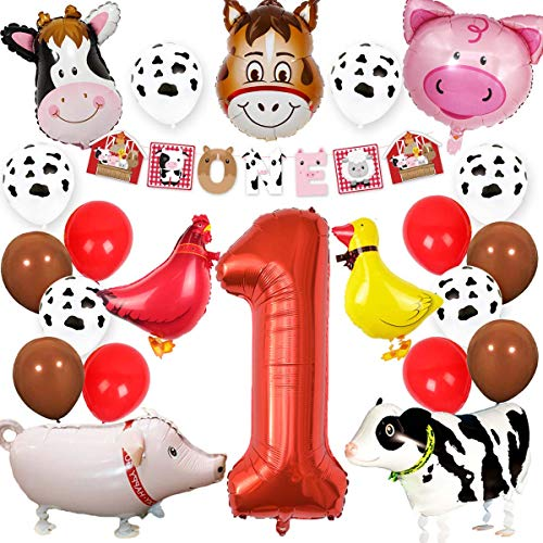 KREATWOW Farm Animal 1st Birthday Party Supplies Decorations