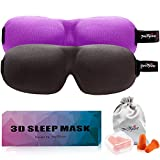 Bags Under Eyes From Lack of Sleep PrettyCare 3D Sleep Mask ( New Design - Invisible Alar ) Eye Mask for Sleeping - Contoured Face Night Eyeshade with EarPlugs & Travel Silk Pouch - Best Sleep Aid for Man Women Kid ( Black and Purple )