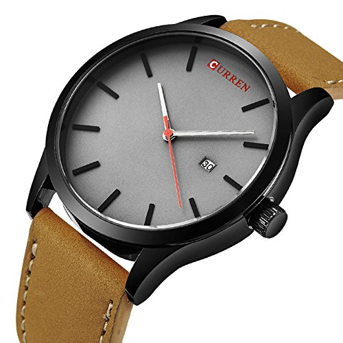 Men's Unique Analog Quartz Classic Business Casual Waterproof Dress Wrist Fashion Watch with Brown Leather Band and Calendar Date Window Gray