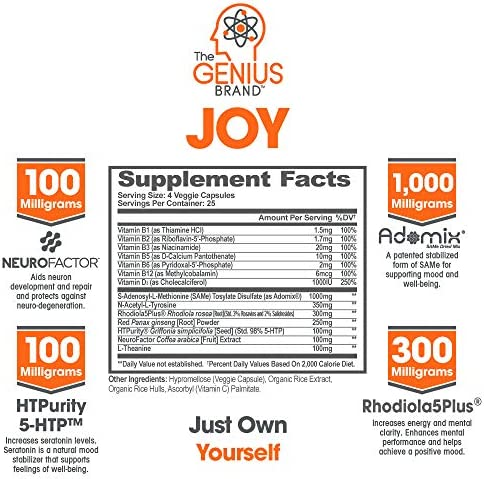 Genius Joy - Serotonin Mood Booster for Anxiety Relief, Wellness & Brain Support, Nootropic Dopamine Stack w/Sam-e, Panax Ginseng & L-Theanine – Natural Anti Stress & Herbal Calm, 100 veggie pills 2