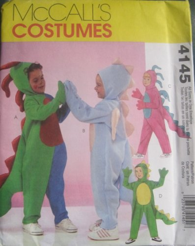 [MCCALLS PATTERN 4145 Childrens Boy/Girl Dinosaur Costume SIZE 3-8 All In One Envelope] (Costumes By Dusty)