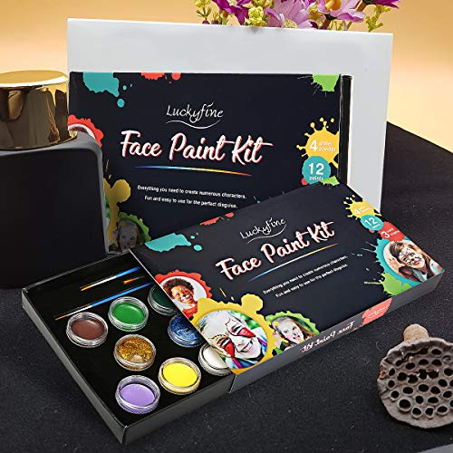 Face & Body Paint Kit, Luckyfine Professional Face Paint Oil with 12 Large Washable Paints, 3 pens, 4 Tattoo Stickers, 4 Glitter Powder Glues, Ideal for Halloween Party Fancy Dress Beauty Makeup Tool]()