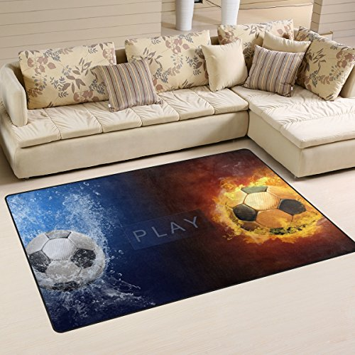 (XiangHeFu Area Rugs Doormats Water Fire Flames Soccer Ball Football 5'x3'3 (60x39 Inches) Non-Slip Floor Mat Soft Carpet for Living Dining Bedroom Home)
