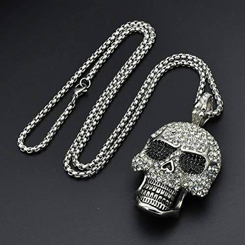 - Hop Titanium Stainless Steel Ice Out Bling Full Micro Pave Rhinestone Skeleton Skull Pendant Necklace for Men Jewelry