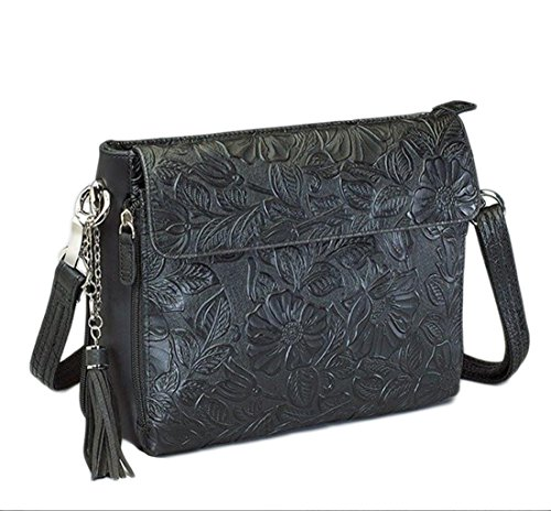Gun Tote'n Mamas - Concealed Carry Purse - Leather - Tooled American Cowhide (Black) -