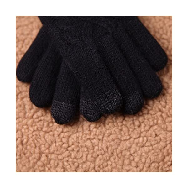 ELMA Womens Texting Touchscreen Winter Cold Weather Super Warm Cozy Wool Knit Thick Fleece Lined Gloves Mittens