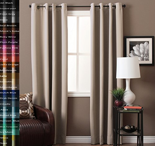 TURQUOIZE Pair(2 Panels) Solid Blackout Drapes, Beige/Ivory, Themal Insulated, Grommet/Eyelet Top, Nursery/Living Room Curtains Each Panel 52″ W x 96″ L