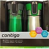 Contigo, 2-Pack, Vacuum-Insulated, AutoSeal Tehnology, Travel Mug, Water Bottle (Bright Green)