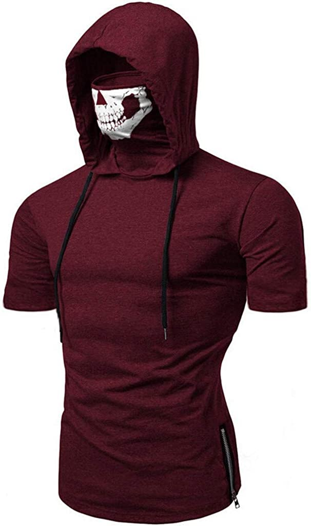 Hoodie for Men Solid Color Vest Polo Tops Short Sleeve Tee Shirts Business Blouse with Skull Mask