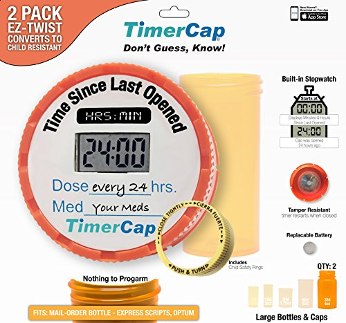 Timer Caps With Large 5 Oz Vials Qty 2 Easy To Use