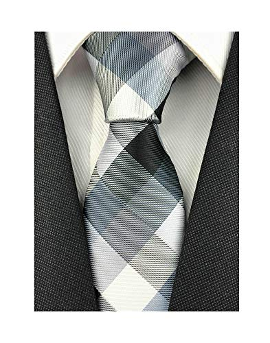 Men Big Boys Cool Silver Grey Black Woven Skinny Silk Ties Regular Soft Fashion Neckties