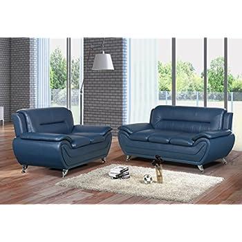 Ordinaire U.S. Livings Anya Modern Living Room Polyurethane Leather Sofa Set (Sofa  And Loveseat, Blue
