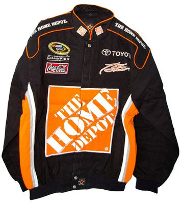 Tony Stewart #20 Home Depot Vintage Trackside Twill Cotton Black Adult Jacket - Jacket Stewart Black Cotton Twill