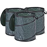 LBZE 25 Gallon Pop Up Garden Bag,Reusable Gardening Lawn and Leaf Bags,Collapsible Container with Spring Bucket for Yard and Lawn Pool Gardening Lawn 3Pack